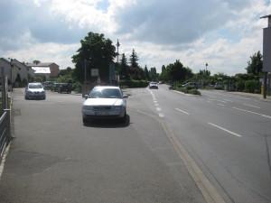Blick auf die von Kleist-Straße (links) und die Reilinger Straße (rechts)